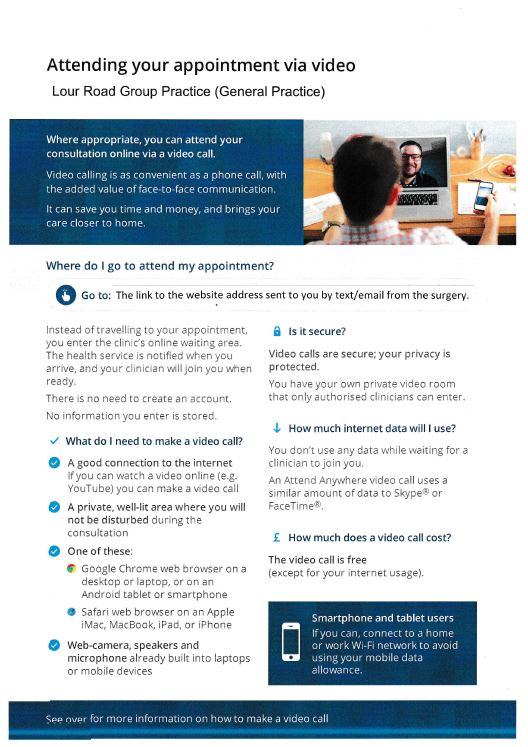 Attending your appointment via video - page 1