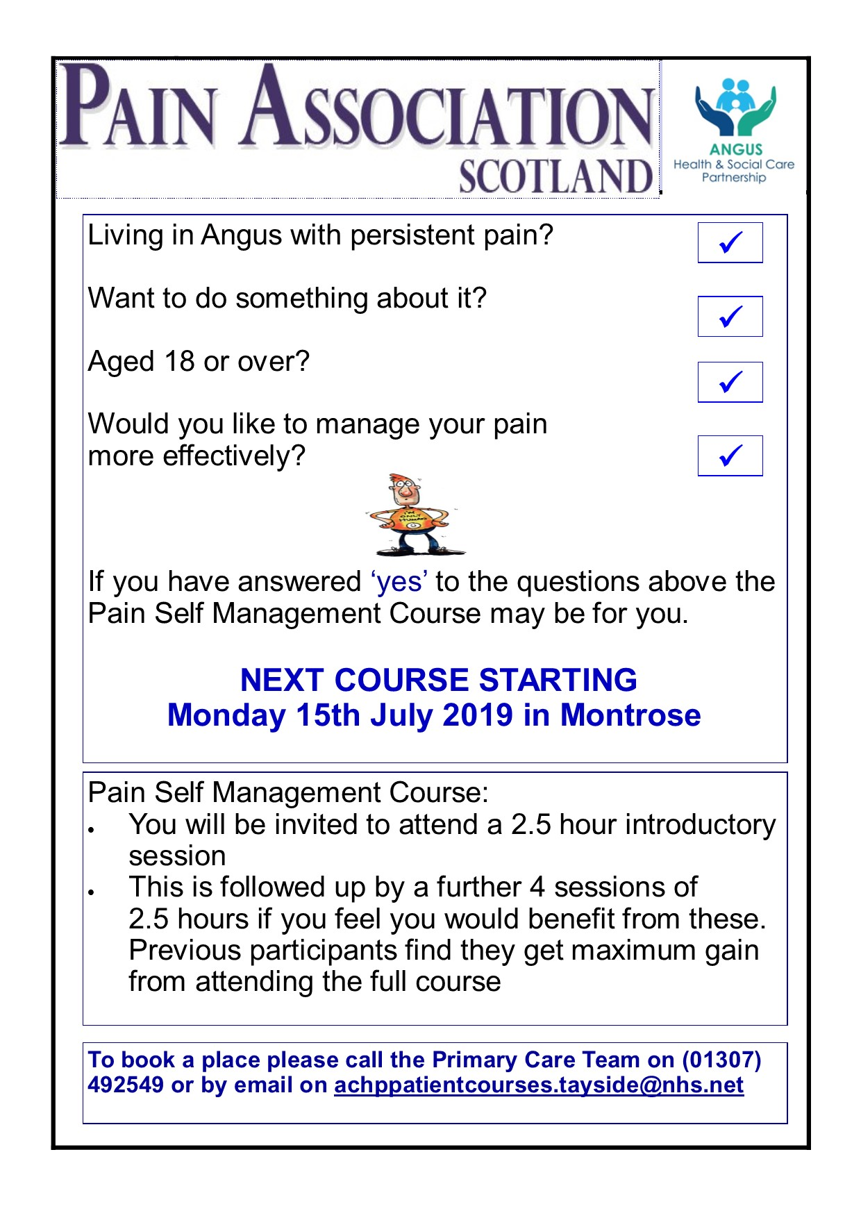 Pain Association Scotland - Next course starting Monday 15th July in Montrose